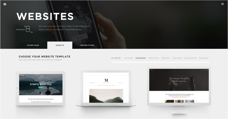 business website with squarespace